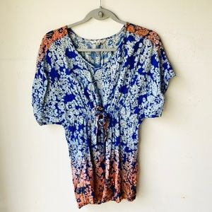 CAbi Ombre Floral Front Tie Top